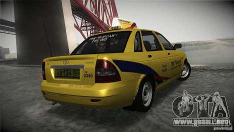 LADA Priora 2170 Taxi TMK Afterburner para GTA San Andreas vista posterior izquierda