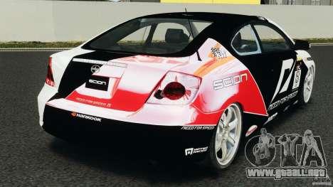 Scion TC Fredric Aasbo Team NFS para GTA 4 Vista posterior izquierda