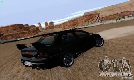 Mitsubishi Lancer EVO VIII BlackDevil para GTA San Andreas vista hacia atrás