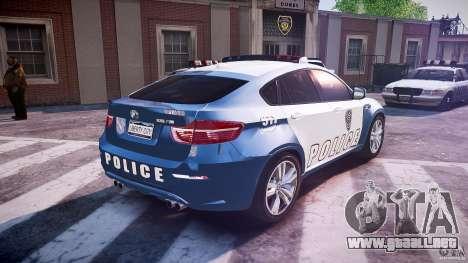 BMW X6M Police para GTA 4 vista superior