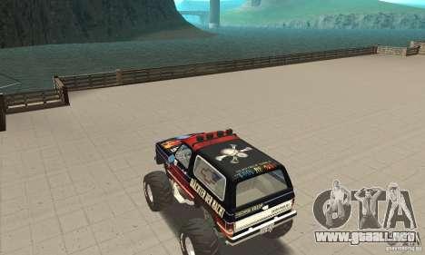 Chevrolet Blazer K5 Monster Skin 5 para GTA San Andreas vista posterior izquierda