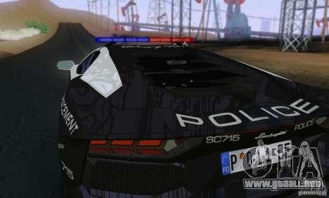 Lamborghini Aventador LP700-4 Police para GTA San Andreas vista hacia atrás