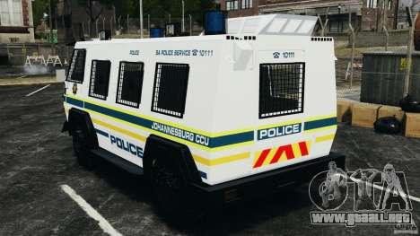 RG-12 Nyala - South African Police Service para GTA 4 Vista posterior izquierda