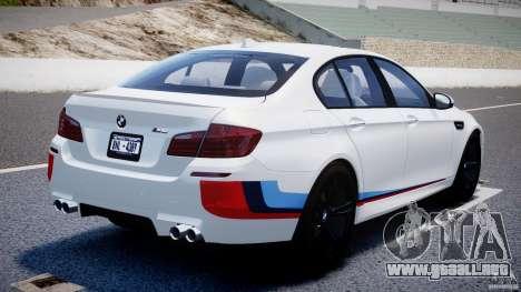 BMW M5 F10 2012 M Stripes para GTA 4 Vista posterior izquierda