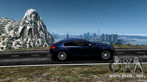Bugatti Galibier 2009 para GTA 4 vista superior
