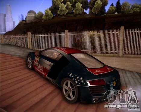 Audi R8 Shift para GTA San Andreas vista hacia atrás