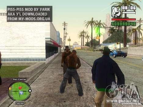 Piss Piss mod para GTA San Andreas segunda pantalla