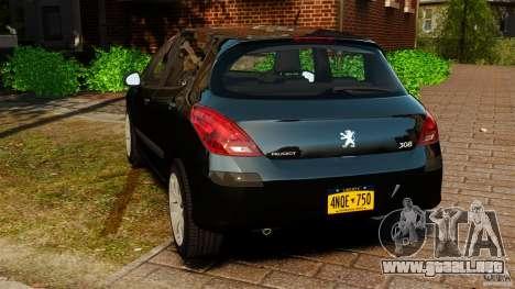 Peugeot 308 2007 para GTA 4 Vista posterior izquierda
