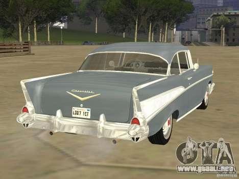 Chevrolet Bel Air 1957 para GTA San Andreas vista posterior izquierda
