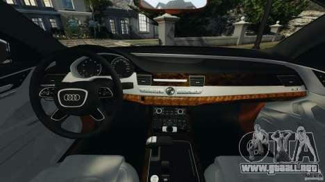 Audi A8 Limo v1.2 para GTA 4 vista hacia atrás