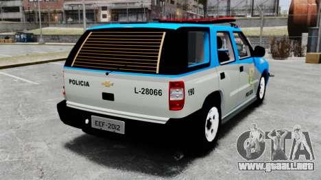Chevrolet Blazer 2010 PMERJ ELS para GTA 4 Vista posterior izquierda