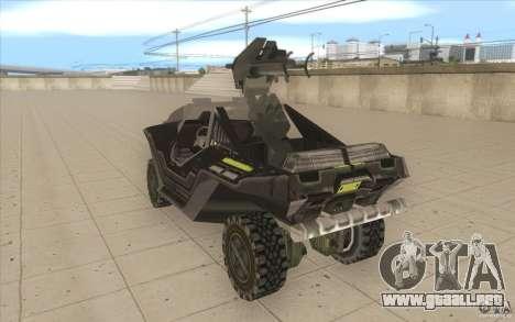 Halo Warthog para GTA San Andreas vista posterior izquierda