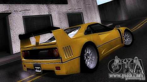 Ferrari F40 GTE LM para GTA San Andreas left
