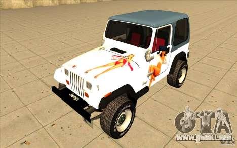 Jeep Wrangler 4.0 Fury 1986 para vista lateral GTA San Andreas
