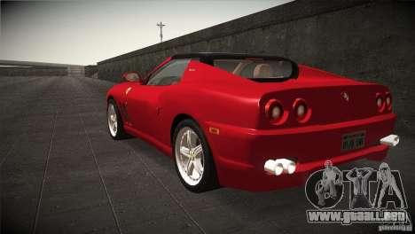 Ferrari 575 Superamerica v2.0 para GTA San Andreas vista posterior izquierda