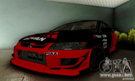 Mitsubishi Lancer Evolution 8 Tuneable para visión interna GTA San Andreas