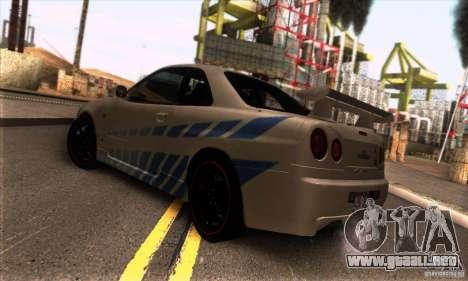 Nissan Skyline R34 GT-R Tunable para la visión correcta GTA San Andreas