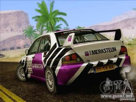 Mitsubishi Lancer Evolution IX Rally para vista inferior GTA San Andreas