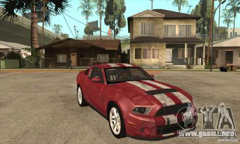 Shelby GT500 2010 para GTA San Andreas vista hacia atrás