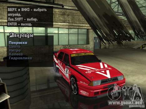 Alfa Romeo 75 Turbo Evoluzione para la vista superior GTA San Andreas