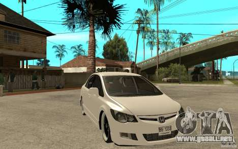 Honda Civic FD para GTA San Andreas vista hacia atrás