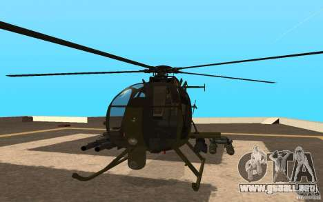 AH 6 para GTA San Andreas vista hacia atrás