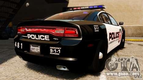 Dodge Charger RT Max Police 2011 [ELS] para GTA 4 Vista posterior izquierda