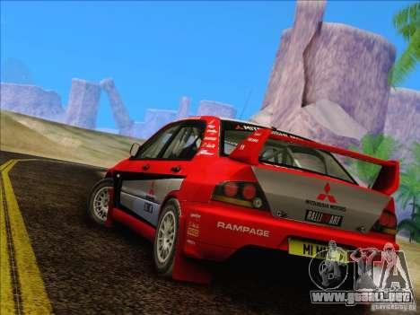 Mitsubishi Lancer Evolution IX Rally para la visión correcta GTA San Andreas