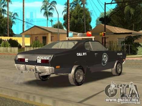 Plymout Duster 340 POLICE v2 para GTA San Andreas vista posterior izquierda
