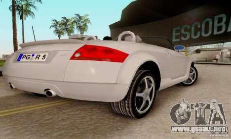 Audi TT Roadster para GTA San Andreas vista posterior izquierda