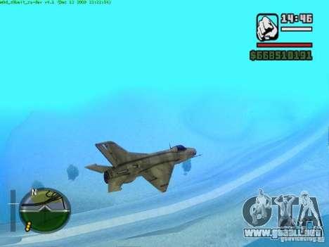 MIG 21 nuevo para GTA San Andreas vista posterior izquierda