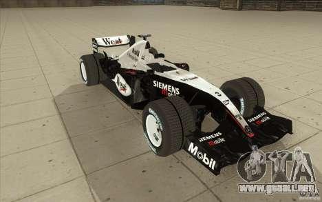 McLaren Mercedes MP 4-19 para GTA San Andreas vista hacia atrás