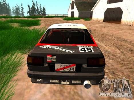 Toyota AE86 Coupe para la visión correcta GTA San Andreas