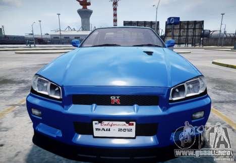 Nissan Skyline GT-R R34 Mspec para GTA 4 vista interior