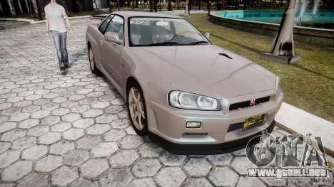 Nissan Skyline GT-R R34 2002 v1 para GTA 4 vista hacia atrás
