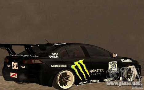 Mitsubishi Lancer Evolution X Monster Energy para GTA San Andreas vista posterior izquierda