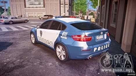 BMW X6M Police para GTA 4 Vista posterior izquierda