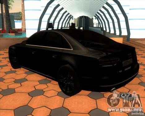 Audi A8 2010 v2.0 para GTA San Andreas vista posterior izquierda