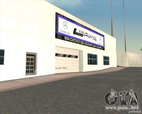 AMG showroom para GTA San Andreas sucesivamente de pantalla