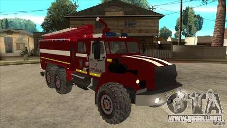 Ural 43206 bombero para GTA San Andreas vista hacia atrás