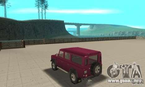 Land Rover Defender 110SW para GTA San Andreas vista posterior izquierda