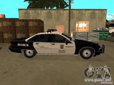 Chevrolet Caprice Police para GTA San Andreas vista posterior izquierda