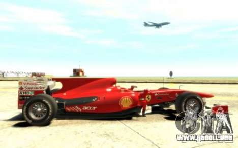 2010 Scuderia Ferrari F10 para GTA 4 vista hacia atrás