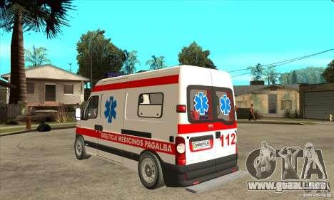 Renault Master Ambulance para GTA San Andreas vista posterior izquierda