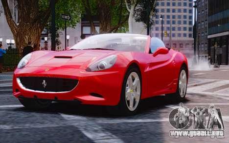Ferrari California para GTA 4 Vista posterior izquierda