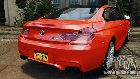BMW M6 F13 2013 v1.0 para GTA 4 Vista posterior izquierda
