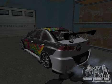 Mitsubishi Evolution X Stock-Tunable para GTA San Andreas vista hacia atrás