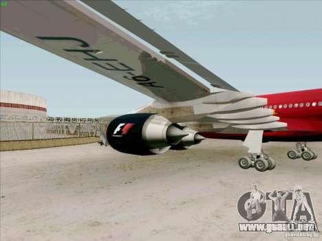 Airbus A-340-600 Formula 1 para GTA San Andreas vista hacia atrás