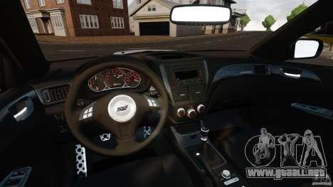 Subaru Impreza Cosworth STI CS400 2010 v1.2 para GTA 4 vista hacia atrás