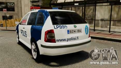 Skoda Fabia Combi Finnish Police ELS para GTA 4 Vista posterior izquierda